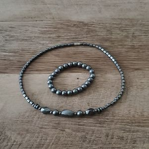 Black hematite necklace and bracelet